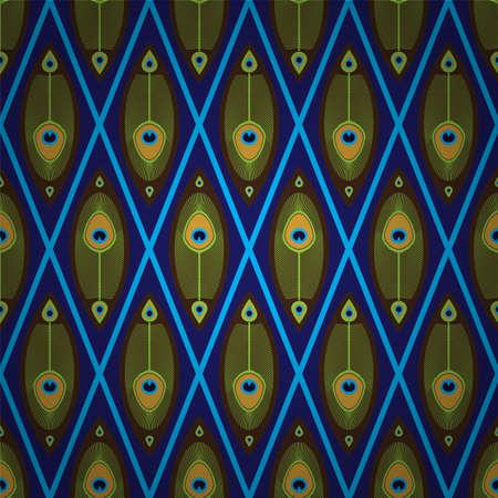 아시아 스타일 공작의 깃털로 밝은 원활한 패턴