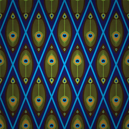 Bright seamless pattern with peacock s feathers in Asian style Vector