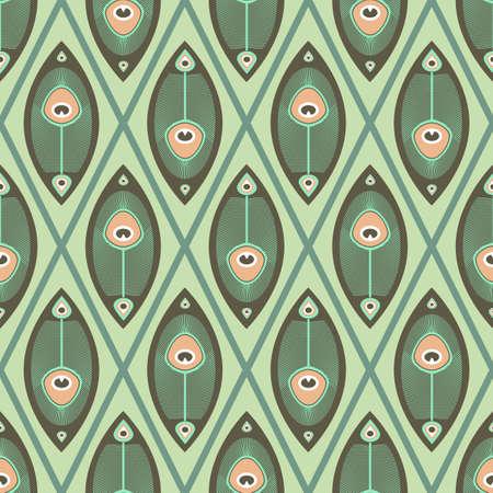 파스텔 색상의 공작 깃털을 가진 기하학적 원활한 패턴