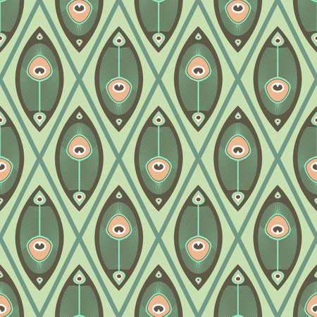 peacock butterfly: Geometrical seamless pattern with peacocks feathers in pastel color Illustration