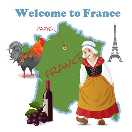 european culture: Vector set with map and symbols of France Illustration