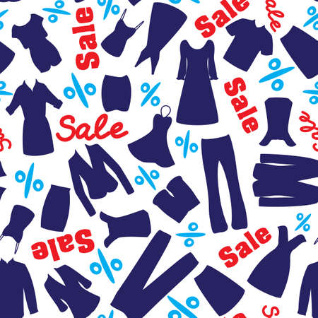 Seamless pattern with man and woman garments for sale time Vector