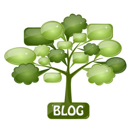 bande dessin�e bulle: Arbre vert avec des bulles de la parole que l'ic�ne pour le blog