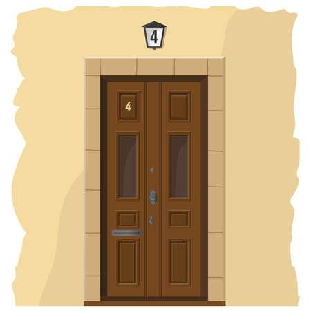 De illustratie met een houten voordeur en een deel van de muur