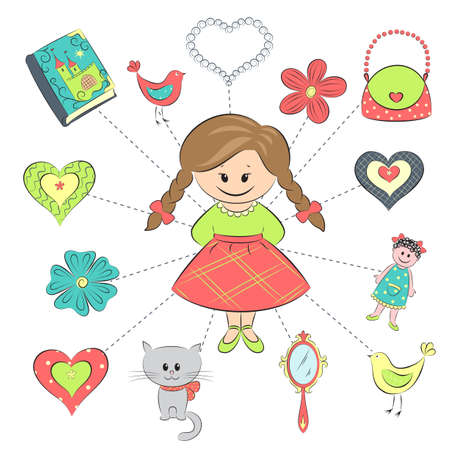 Little girl with flowers, book, mirror, cat and doll Stock Vector - 14366376