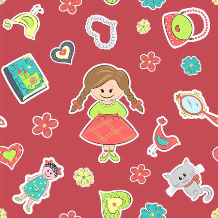 Seamless pattern with girl and flowers, book, mirror, cat and doll Vector