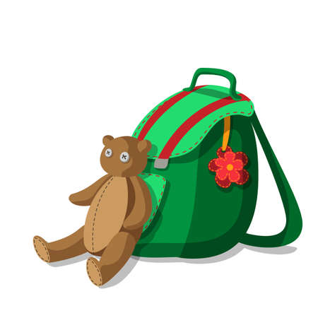 Bright green schoolbag with flower and cute teddy bear Vector