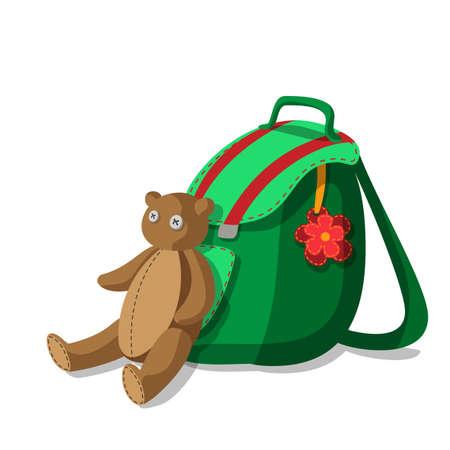 school bags: Bright green schoolbag with flower and cute teddy bear Illustration