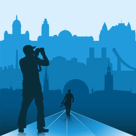 Silhouettes of photographers with Scandinavian capitals on the background Vector