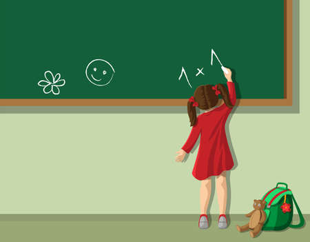 Little girl writing on blackboard in  the classroom Vector
