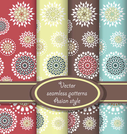 Seamless patterns with round flowers in the Asian style  Four color version  Vector