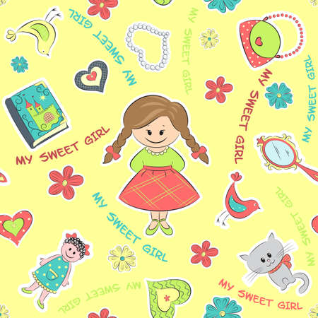children's story: Yellow seamless pattern for little girl with flowers, toys and text