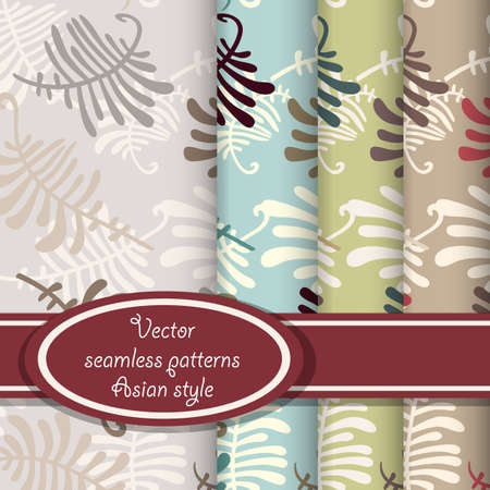 Seamless patterns with leaves of fern  Set with four color version  Vector