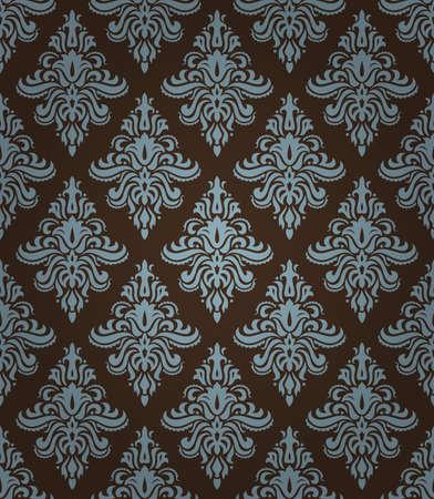 青と茶色の色で古典的な花飾りのシームレスなパターン  イラスト・ベクター素材