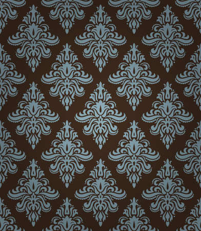 seamless pattern with classic floral ornament in blue and brown colors Vector