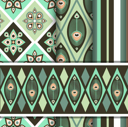 Set of seamless patterns with peacock butterfly Indian style Vector