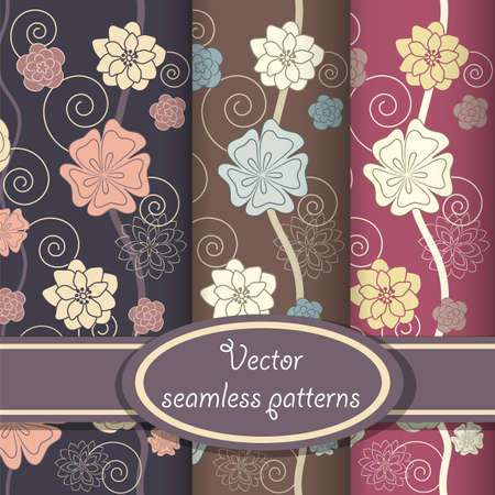 Seamless patterns with beautiful floral ornate in violet colors Vector