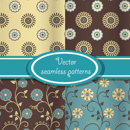 Set of seamless patterns with vintage floral ornate blue and brown colors Vector