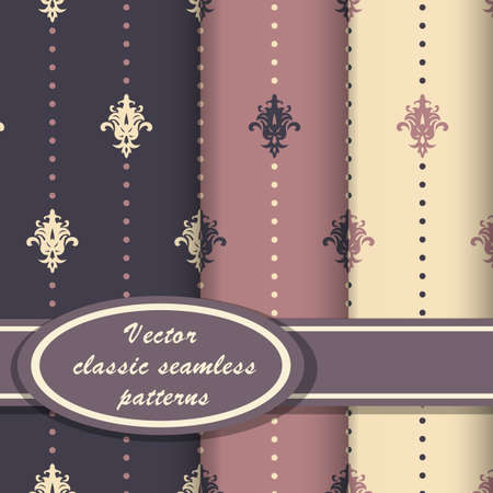 scrapbook background: Set of vintage seamless patterns with classic ornate in pink and violet colors