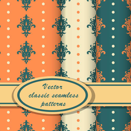 Set of vintage seamless patterns with classic ornate orange and blue colors Vector