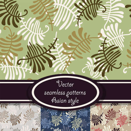 Seamless patterns with leaves of fern  Set with four color version Stock Vector - 14492908