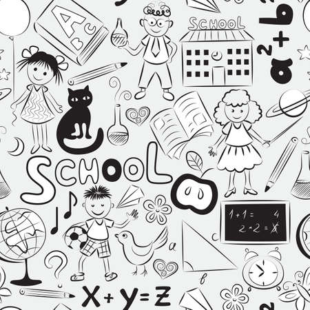 schooltime: Vector seamless pattern with doodles of children and different  school things