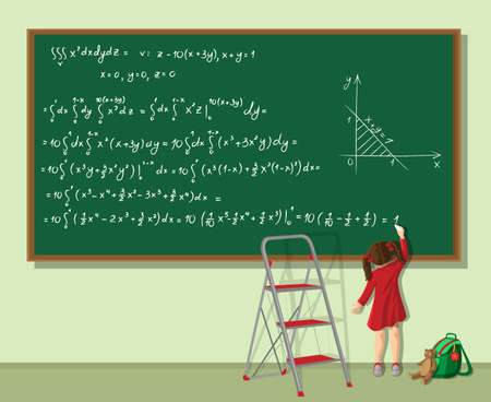 Little girl writing long equation on the blackboard in the classroom Illusztráció