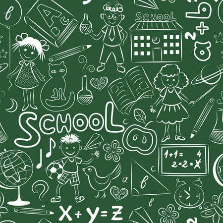 seamless pattern with doodles on the school blackboard