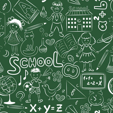 seamless pattern with doodles on the school blackboard Vector