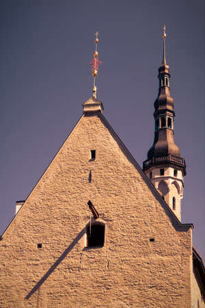 The medieval building of Guildhall in Tallinn, Estonia Tinted image in retro style photo