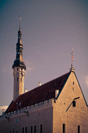 guildhall: The medieval building of Guildhall in Tallinn, Estonia Tinted image in retro style Stock Photo