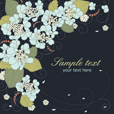 Vector greeting card with blue flowers and place for text 向量圖像
