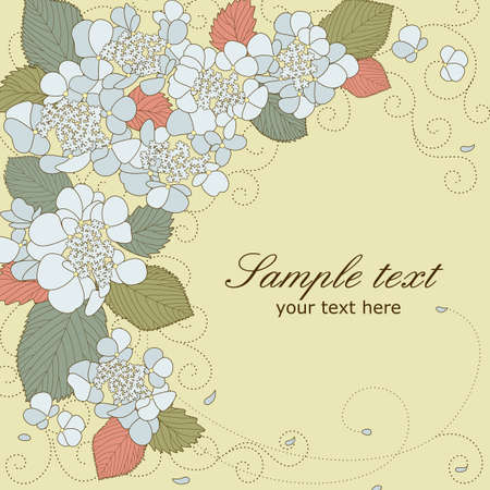 Vector greeting card with blue hydrangea flowers in pastel colors Illustration