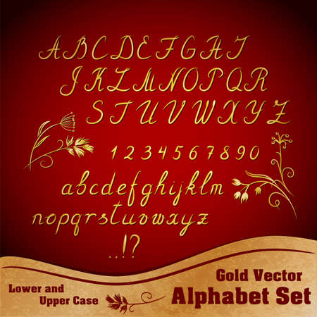 Calligraphic gold alphabet set with lower and upper case and numbers Vector
