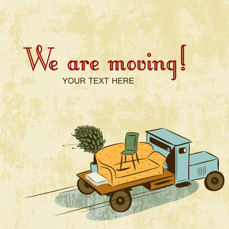 relocate: Truck with furniture, concept of moving or relocation  Retro design