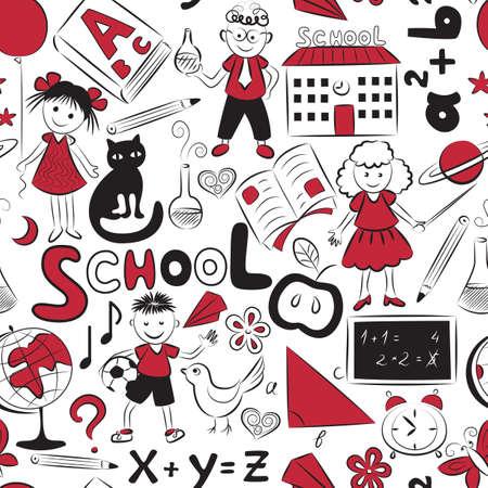 いたずら書き子供と別の学校のものとのシームレスなパターン ベクトル