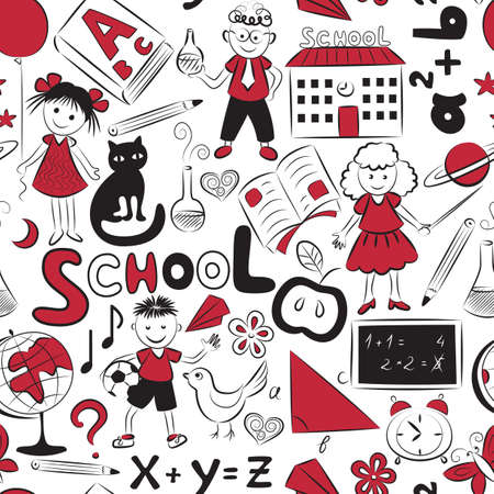 scribble: Vector seamless pattern with doodles of children and different  school things