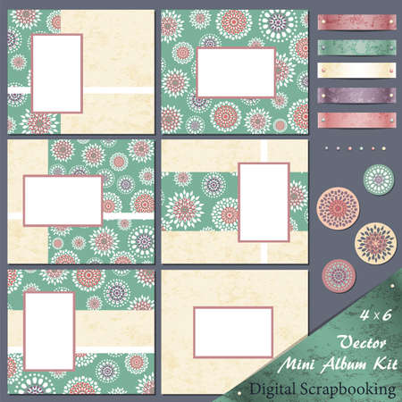 Retro frames and design elements for scrapbooking 矢量图像