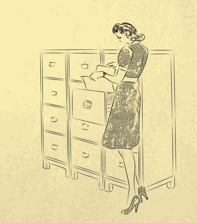 secretaria: Joven mujer-secretaria en busca de documentos en archivos de estilo retro
