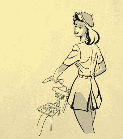 自転車レトロなスタイルを保持している若い女の子の黒と白のイラスト