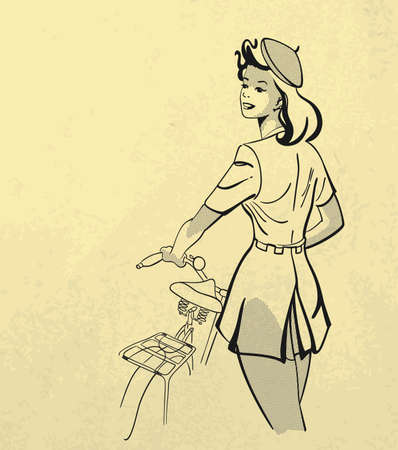 black and white illustration of  young girl holding the bicycle  Retro style