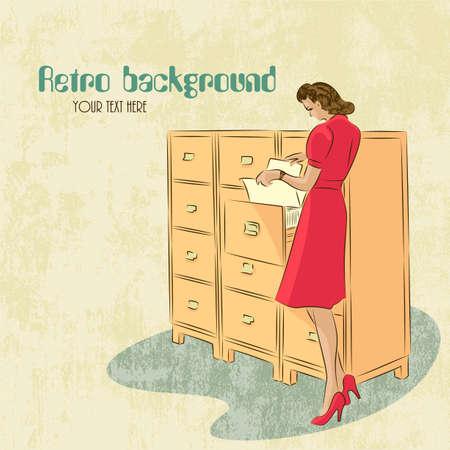 archivi: fondo, con, giovane segretaria alla ricerca di documenti in archivi stile retr�