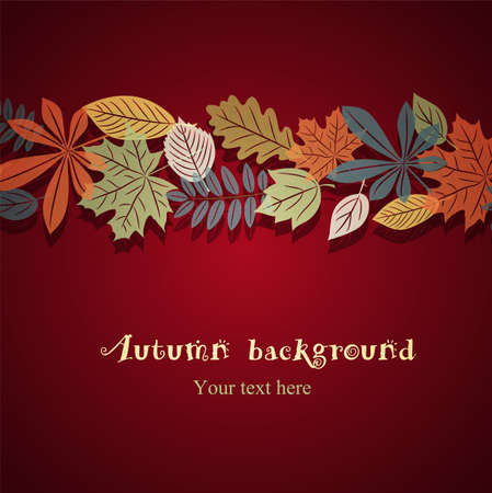 fall background: Autumn leaf ornament on the bright red grunge background