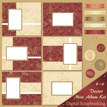 Retro frames and design elements for scrapbooking with autumn motives Vector