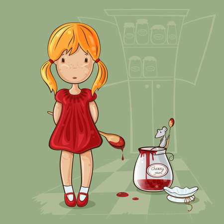 fault: Little girl with spoon near the jam jar and mouse in cartoon style