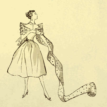 black and white sewing: Young woman try on fabric  Retro style Illustration