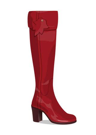 Moderno stivale in pelle rossa alta su sfondo bianco