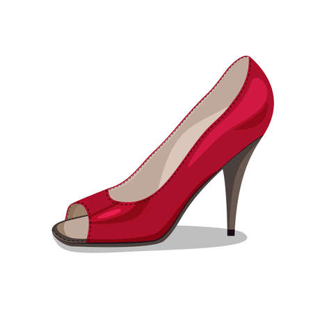 womanlike: illustration of modern red leather shoe on white background