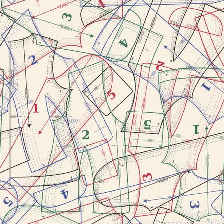 서로 다른 색의 종이 패턴 원활한 패턴 일러스트