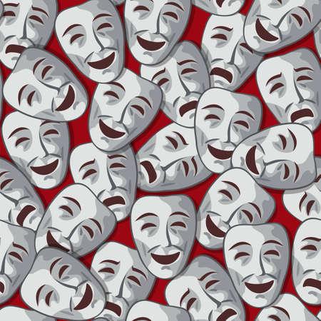 メリーと悲しいの演劇的なマスクとのシームレスなパターン  イラスト・ベクター素材